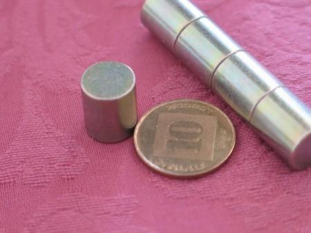 מגנט ניאודימיום גליל - קוטר 12 מ''מ, גובה 14 מ''מ (NC-1600)