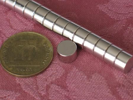 מגנט ניאודימיום דיסק - קוטר 8 מ''מ, גובה 5 מ''מ (ND-1200)