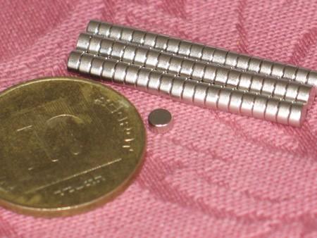 מגנט ניאודימיום דיסק - קוטר 3 מ''מ, גובה 1.5 מ''מ (ND-400)