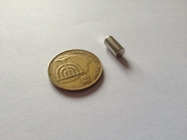 מגנט ניאודימיום גליל - קוטר 5 מ''מ, גובה 10 מ''מ (NC-800)